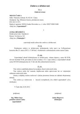 Zmluva o účinkovaní - Janka Bégerová
