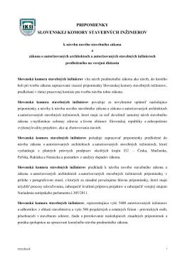 pripomienky slovenskej komory stavebných inžinierov