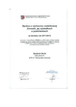 SŠ-Správa o výchovnovzdelávacej činnosti v škol. roku 2011-2012