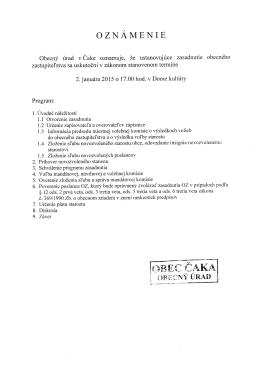 Oznamenie o konani ustanovujuceho zasadnutia obecneho
