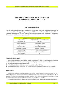 vybrané kapitoly zo semiotiky masmediálneho textu 1