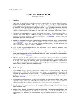 Pravidlá SMS súťaže na JOJ.SK