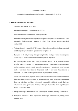 Uznesenie č. 2/2014 zo zasadnutia obecného zastupiteľstva