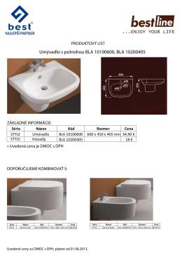 Umývadlo s polnohou BLA 10100600, BLA 10200405