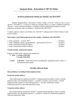 Kritéria prijímacích skúšok 2014/15