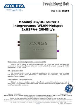 Mobilný 2G/3G router s integrovanou WLAN-Hotspot