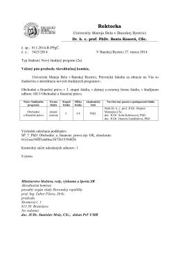 Rektorka - Akreditačná komisia