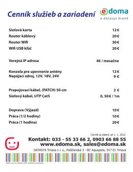 Cenník služieb a zariadení - e-DOMA