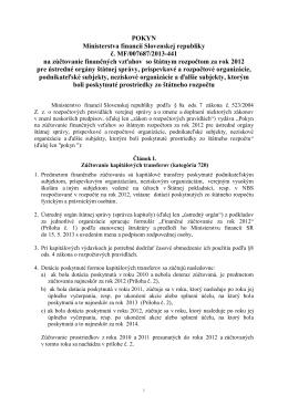 POKYN Ministerstva financií Slovenskej republiky č