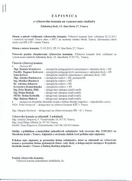 ZÁPISNICA - Základná škola, Ul. Jána Bottu 27, Trnava
