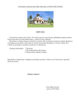 Pozvánka - Pravoslávna cirkevná obec Bratislava
