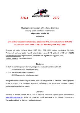 Preteky so zadaním skúšky Ligy Obedience 2012 - ZŠK-SR