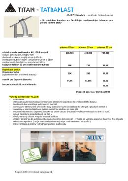 Svetlovody Allux Standard cenník