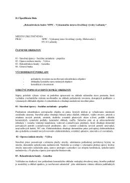 """D.1 Špecifikácia Diela """"Rekonštrukcia budov NPPC"""