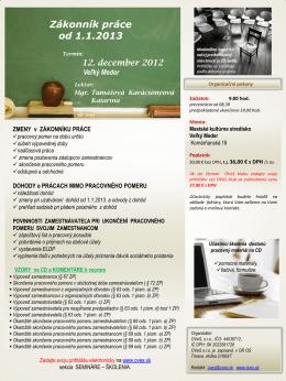 Zákonník práce od 1.1.2013
