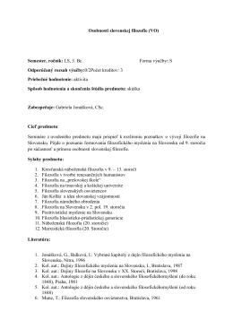 Osobnosti slovenskej filozofie (VO) Semester