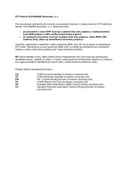 STP kritériá VOLKSBANK Slovensko