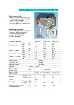 Technické parametre PALM Tritherma DC Inverter