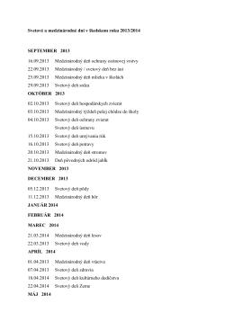 Svetové a medzinárodné dni v školskom roku 2013/2014