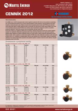 CENNÍK 2012 - Martel Energo, meracia a regulačná technika