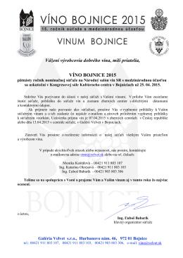 Víno Bojnice 2015 - pozvánka a štatút súťaže ČR