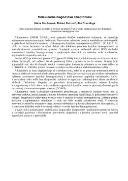 Biochemická a molekulárna diagnostika alkaptonúrie