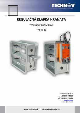 tpt 06-12 regulačná klapka hranatá