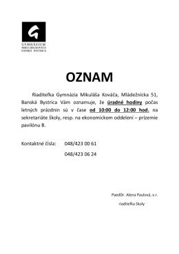 Riaditeľka Gymnázia Mikuláša Kováča, Mládežnícka 51, Banská