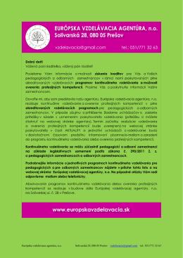Ponuka pre pedagogických a nepedagogických zamestnancov