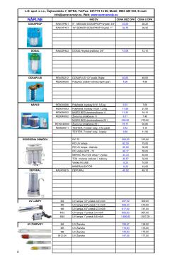 Cenník Atlas Filtrov 20% DPH