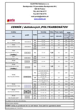 cennik polykarbonvatov 2014
