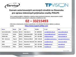 Zoznam autorizovaných servisných stredísk na
