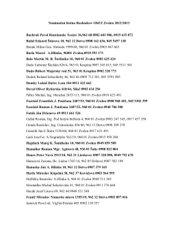 Nominačná listina Rozhodcov ObFZ Zvolen 2012/2013 Bachroň