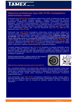 Objemový prietokomer typu VZO 4T.PR s