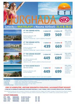 Hurghada _ odlety 21 06 28 06 _ letecky z Bratislavy