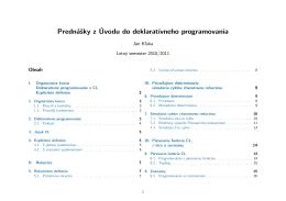 Prednášky z Úvodu do deklaratívneho programovania