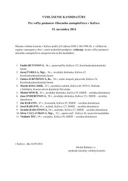 oznam MVK registrácia kandidátov na poslancov obce Kaľava