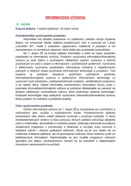 INFORMATICKÁ VÝCHOVA 2. ročník