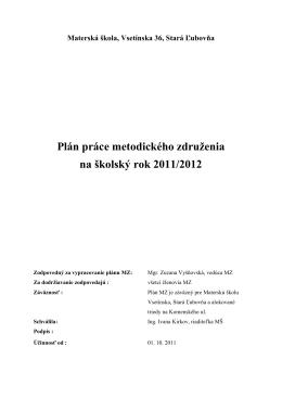 Plán práce na šk. rok 2011-2012