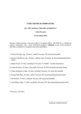 Vyhlásenie kandidatúry pre voľby poslancov