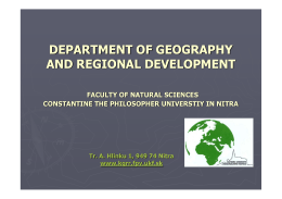 Department of Geography and Regional Development Profile