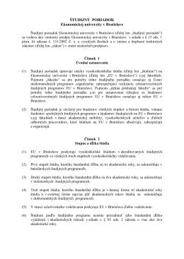 2010 Študijný poriadok - Nemeckofónne štúdium na Ekonomickej