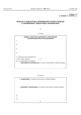 doklad o zdravotnej spôsobilosti vodiča/doklad o podmienenej