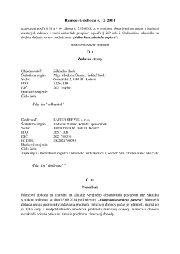 Rámcová dohoda č. 12-2014 - Základná škola Gemerská 2 Košice