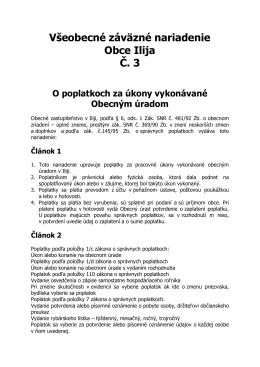 VZN č.3 o popl. za úkony vyk. OcU