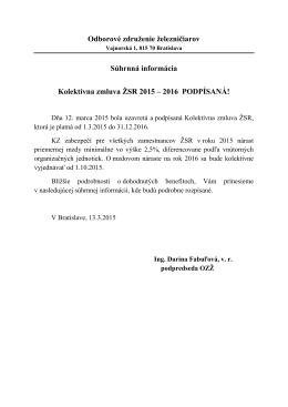 Súhrnná informácia Kolektívna zmluva ŽSR 2015 – 2016