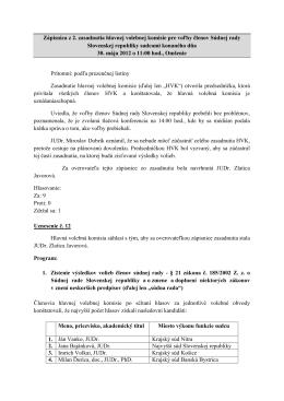 2. zasadnutie hlavnej volebnej komisie