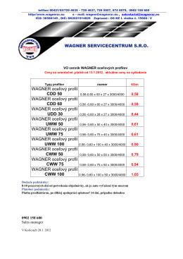 WAGNER SERVICECENTRUM S.R.O. WAGNER oceľový profil CDD