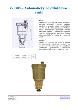 V-1308 – Automatický odvzdušňovací ventil