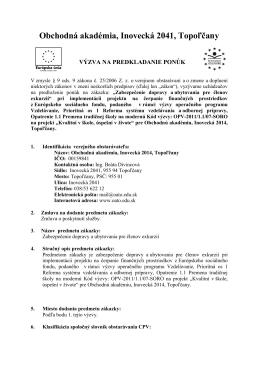 Obchodná akadémia, Inovecká 2041, Topoľčany